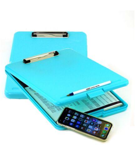 2pk Blue Teal Storage Office Nursing Clipboard Case Document Letter Size Holder