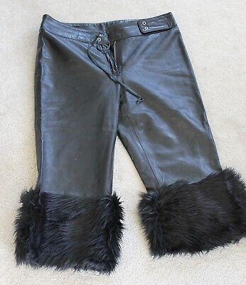 Natural Leather XOXO Black pants w/ Faux Fur Halloween Burning Man size 5 SALE  (Halloween Leather Pants)