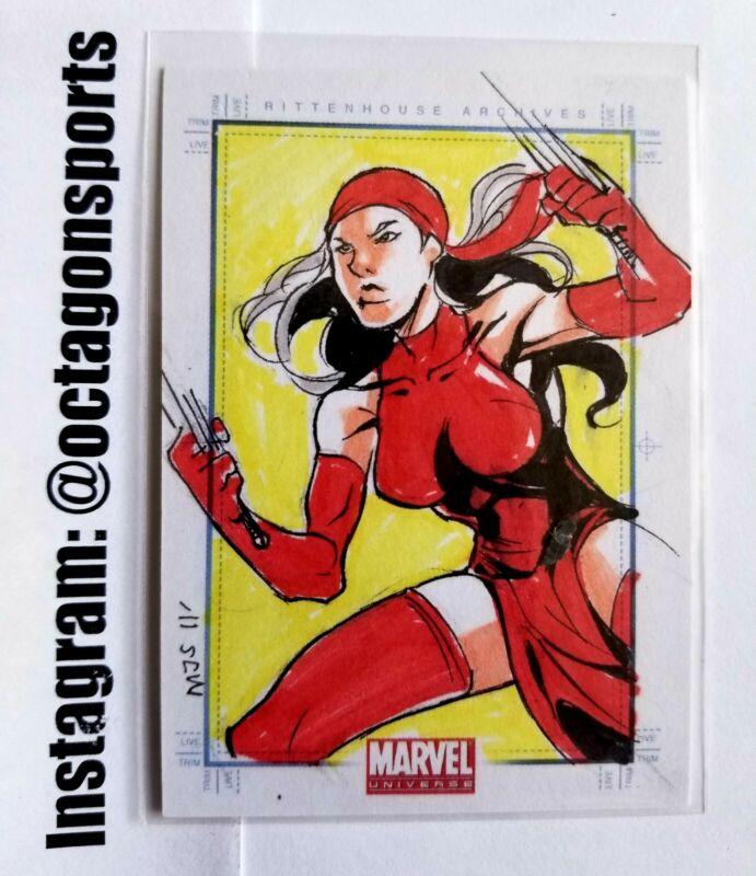 2011 MARVEL UNIVERSE SKETCHAFEX ELEKTRA SKETCH CARD!! MJS!! 1/1!! ONLY ONE!!