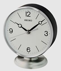 NEW SEIKO DESK/TABLE CLOCK (SILVER ALUMINUM AND WOOD)  QXG150SLH