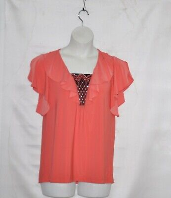 Bob Mackie Cascade Ruffled Knit Top with Embroidered Inset Size S Coral