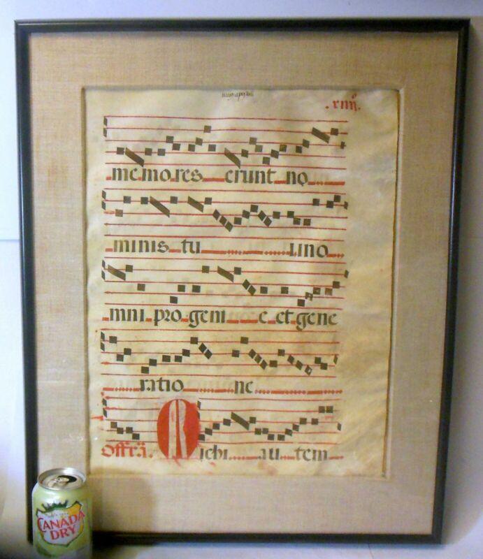 Antique ANTIPHONAL MUSIC LEAF Sheet Parchment 17th c Baroque FRAMED ART