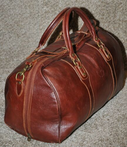 Cenzo Duffle Vecchio Brown Italian Leather Weekender Travel Bag w Shoulder Strap