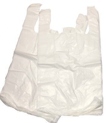 100 x MEDIUM WHITE PLASTIC POLYTHENE VEST STYLE CARRIER BAGS 11 x 17 x 21