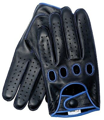 Riparo Reverse Stitched Leather Driving Gloves - Black/Blue Thread Leather Reversible Gloves