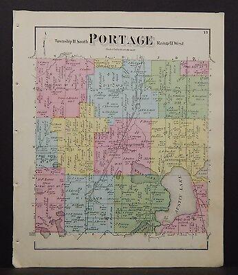 For sale Michigan Kalamazoo County Map Portage Township 1873 W16#74