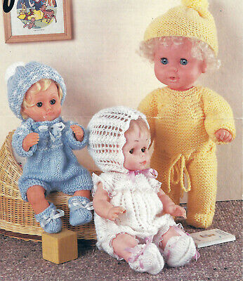 DOLLS CLOTHES KNITTING PATTERN BABY ALIVE TINY TEARS 12, 14 & 16 INCH (1828)