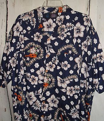 Maui Trading Co 2XL Hawaiian Shirt Leis Ukuleles Habiscus Navy Blue - Hawaiian Lei Company