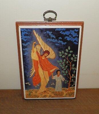 Angel Guarding Boy PLAQUE Wooden CERAMIC Jesus TREE Birds ICON Picture PAINTING