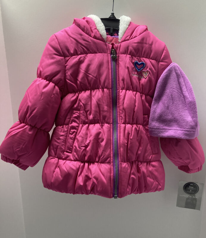London Fog Girls Toddler Hooded Jacket With Hat Size 4T Pink NWT