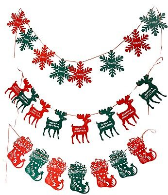 2M Christmas Pennant Party Decoration Flags Banner Bunting Snowflakes Reindeers (Christmas Party Banner)