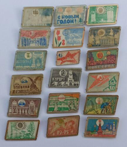 SOVIET BADGE PICTURES 3D PICTURE VOLUME USSR PICTURE CHANGE LOT 18 PCS.