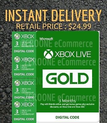 Microsoft Xbox Live 3 Month Gold Membership   Instant Delivery  Retail  24 99