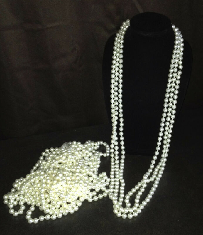"""Faux Pearl Necklace 46"""" - lot of 12"""
