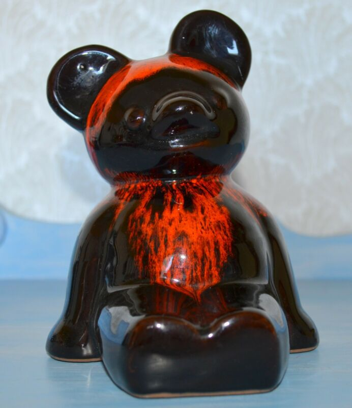 Vintage Evangeline Style Canadian Red Drip Pottery Bank Teddy Bear