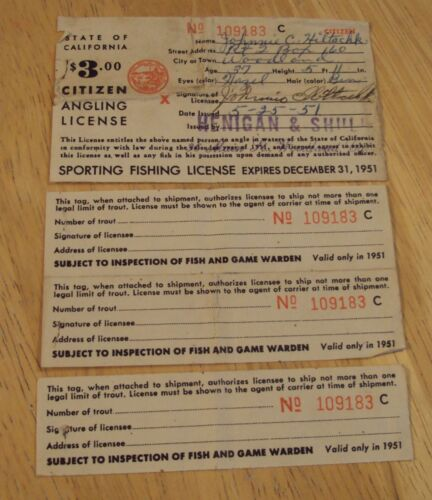 """1951 State of California~""""CITIZEN ANGLING LICENSE""""~Sports Fishing w/TAGS~"""