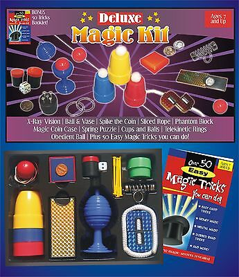DELUXE MAGIC KIT Set 50 Tricks Book Kids Beginner Magician Gift Toy Cups Balls
