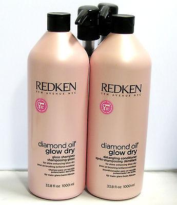 Redken Diamond Oil Glow Dry Gloss Shampoo and Conditioner 33.8 Liter Set w Pumps