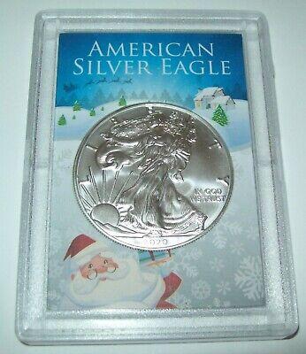 2020 American Silver Eagle 1 Troy Oz. .999 Fine Silver Dollar in Christmas Case