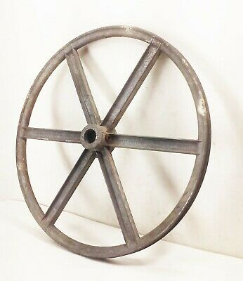 Vtg 6 Spoke 14 V-belt Groove Pulley Wheel Aluminum Farm Industrial Machine
