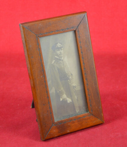 German Imperial Navy Officer Photo Card 1907 + Wood Frame