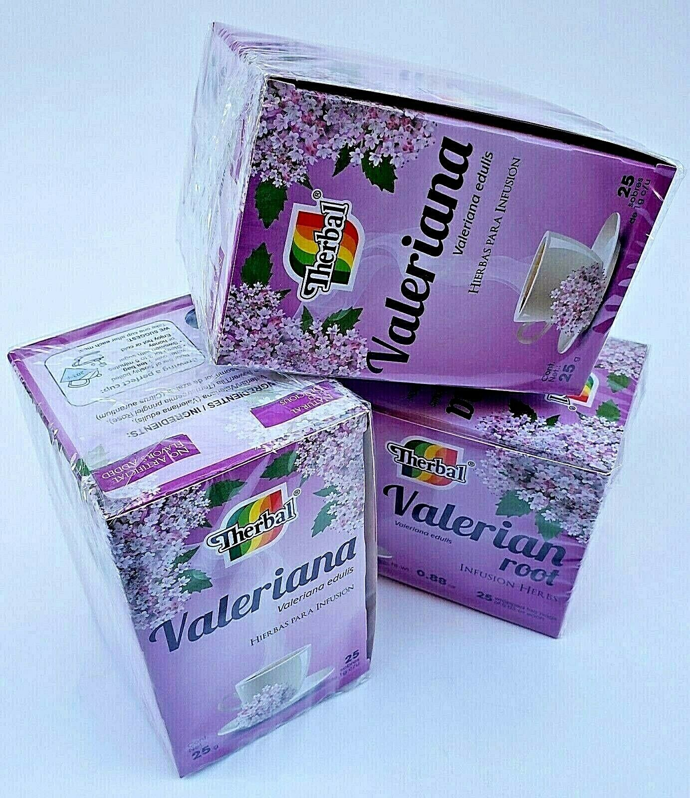 (3 Packs) VALERIAN TEA 75 BAGS 1 g. ea TE DE VALERIANA Therbal Made in Mexico 1
