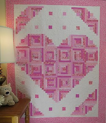 Loving Heart Quilt Pattern ~FAST~VERY EASY~Scraps~ #441 log cabin (Easy Quilt Pattern)