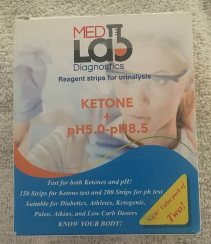 MedLab Diagnostics Ketone + pH 5.0- 8.5  200 Test Strips Exp 10/2020