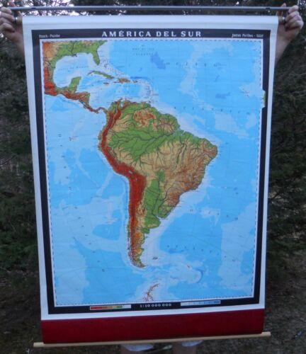 """Pull Down School Map, South America, approx: 39.5 """" x 54"""""""