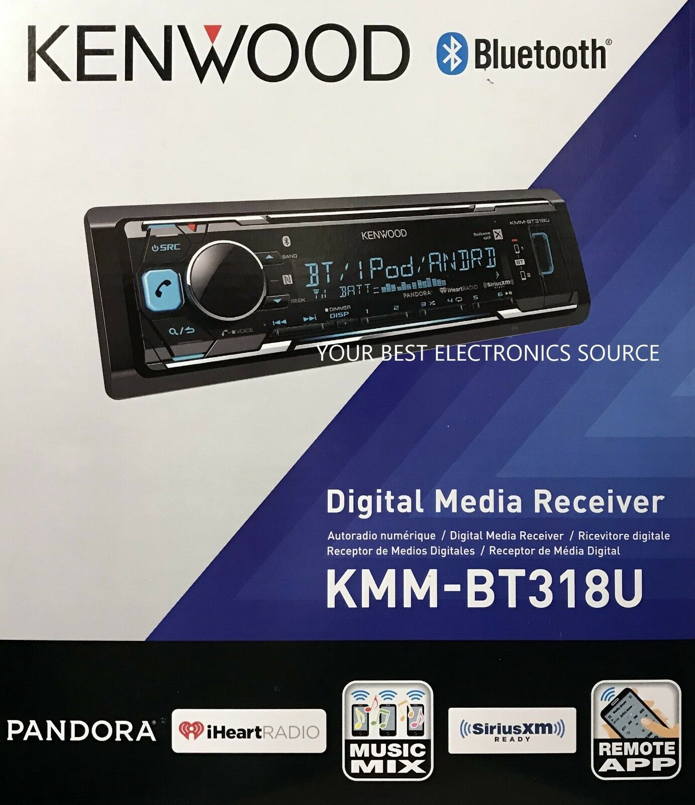 $79.94 - NEW Kenwood KMM-BT318U Single DIN Bluetooth AM/FM/Digital Media Car Stereo