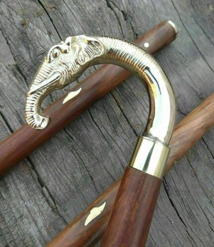 Vintage Brass Design Elephant Head Handle Antique Wooden Walking Stick Cane Gift