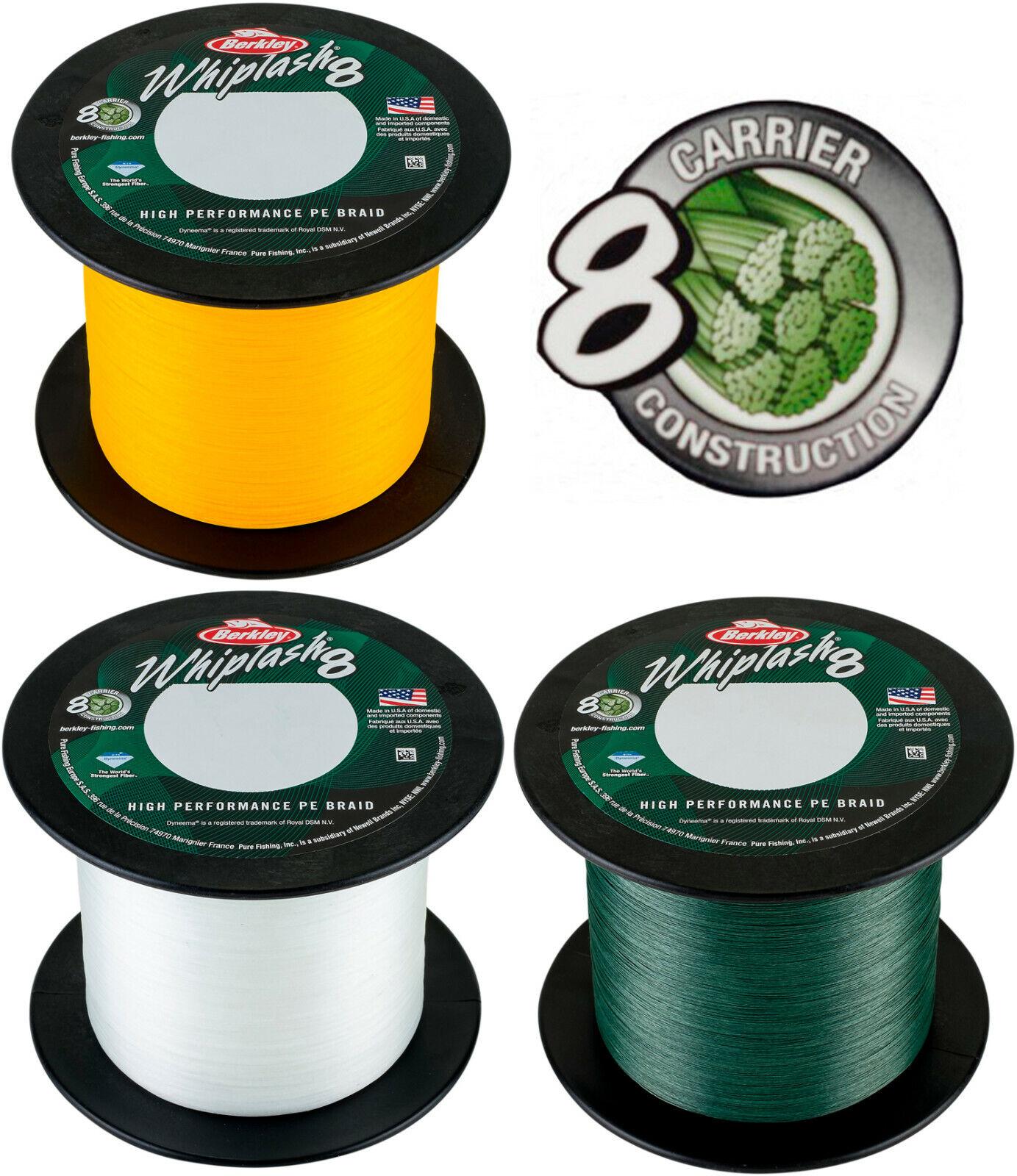 Berkley Whiplash 8 Neu! ab 10m geflochtene Angelschnur Green, Yellow, Crystal