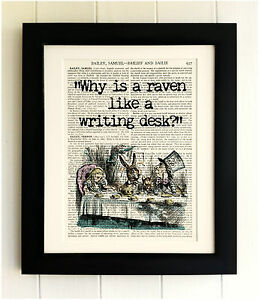 ART-PRINT-ON-OLD-ANTIQUE-BOOK-PAGE-FRAMED-Alice-in-Wonderland-Quote-Vintage