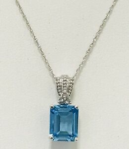 BLUE TOPAZ 10K WHITE GOLD PENDANT W/ CHAIN