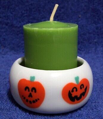 Happy Halloween! Votive Candle Holder - Jack o' Lantern Carved Pumpkin Ceramic