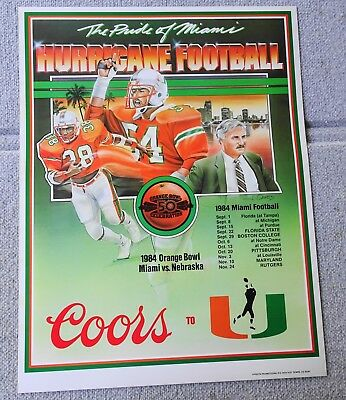 Rare ERROR 1984 MIAMI HURRICANES Schedule FOOTBALL POSTER Howard Schnellenberger
