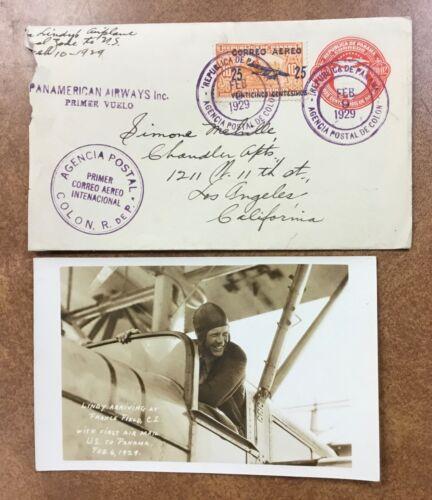 1929 LINDBERGH PHOTO Panama RPPC Postcard inside cover 1st flight To US