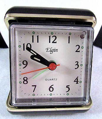 Vintage Elgin Travel Alarm Clock Black Folding Case RUNS 3 X 3 Inches