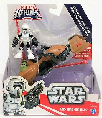 Star Wars Galactic Heroes Scout Trooper and Speeder Bike Action Figure Toy