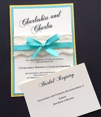 Yellow And Turquoise Wedding Invitation