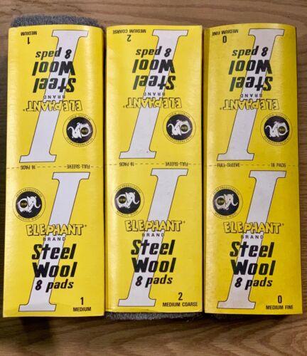 Elephant Steel Wool Medium Coarse Medium and Medium Fine 16 pads each 0,1,2 USA