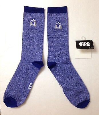 (1 pair) R2-D2 STAR WARS SOCKS Blue Embroidered R2D2 Logo Crew Men/Women OSFM
