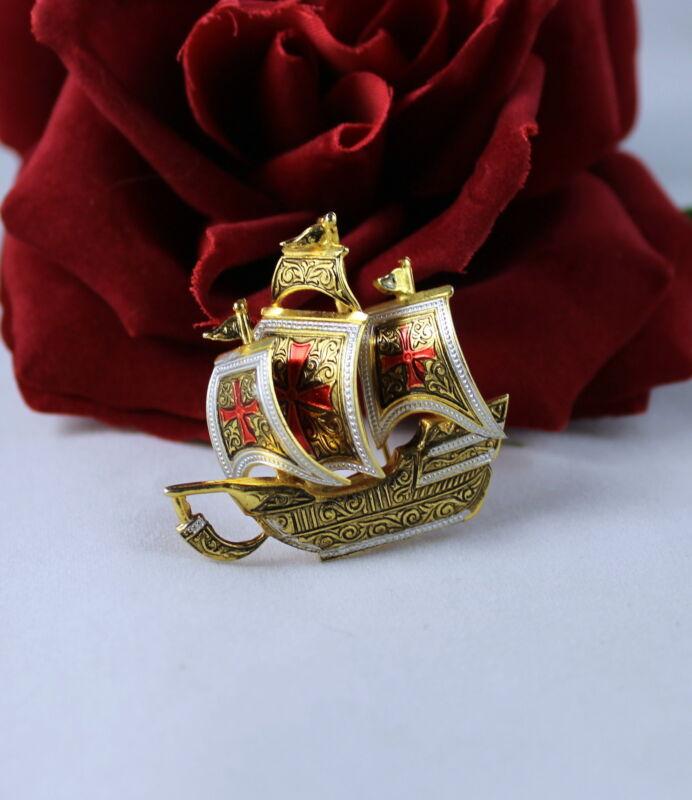 Vintage Spain Damascene Enamel Ship Boat Pin Brooch CAT RESCUE
