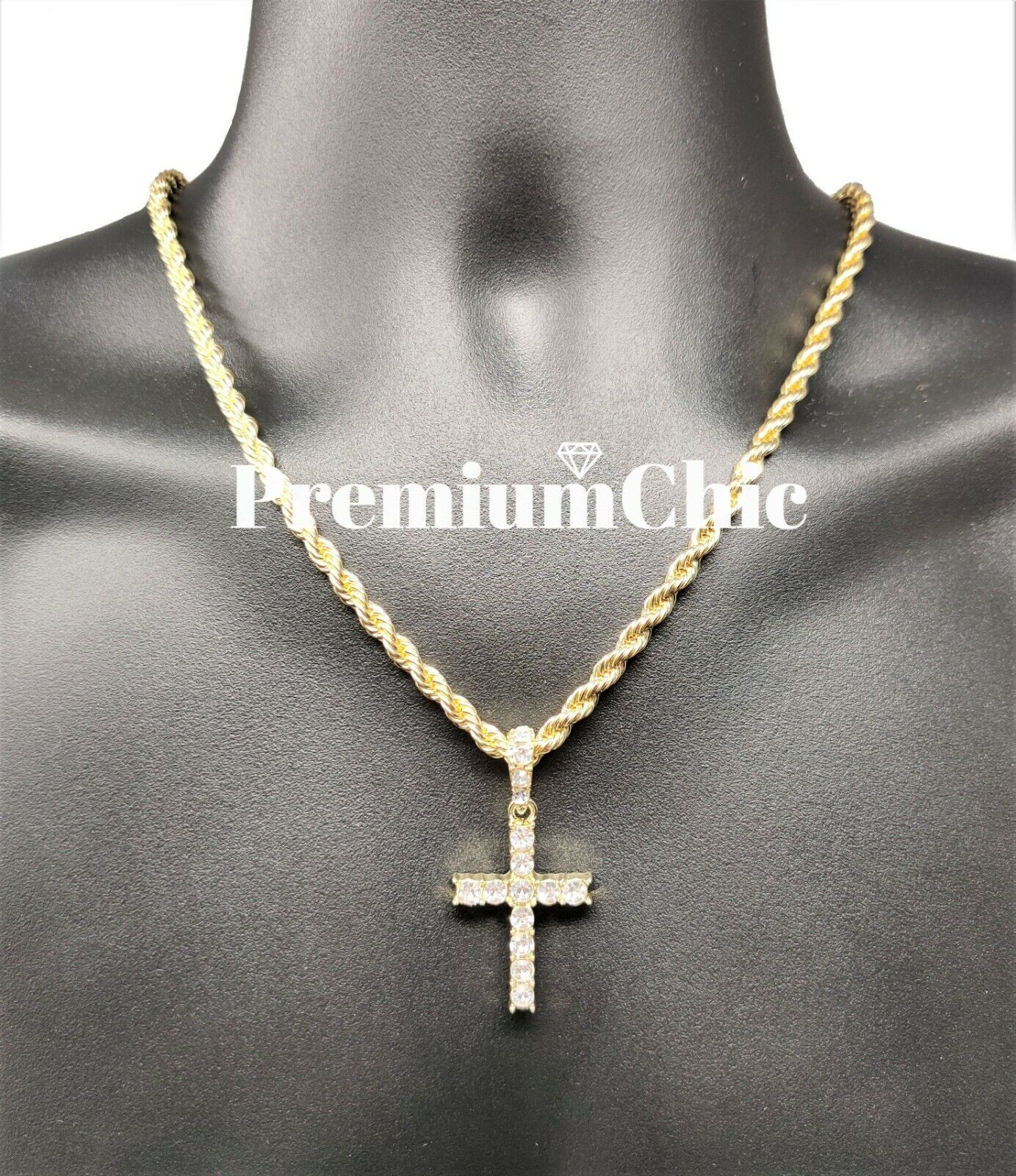Jewellery - Iced Cross Pendant with 5MM Rope Chain Necklace Mens Hip Hop Gold Plated Jewelry