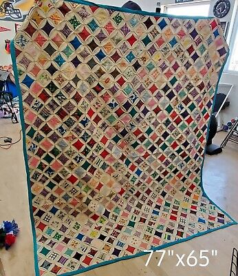 Blue Red Quilted Throw Large Throw Quilt Bed Topper Quilt Teal Red Tan Quilt Contemporary Art Quilt Blue Lap Quilt Cottage Chic Decor