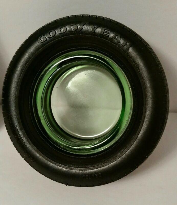 DEPRESSION GREEN GLOW GLASS VINTAGE ASHTRAY MINI GOODYEAR TIRE