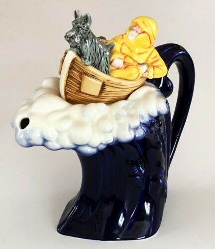 PAUL CARDEW OLD MAN SEA BOAT OCEAN WAVE FISHERMAN SCOTTIE DOG PORCELAIN TEAPOT