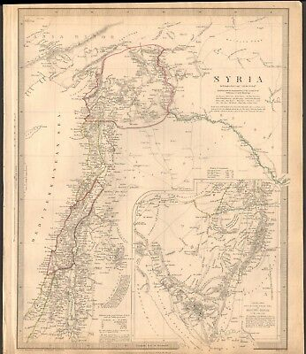 1843 ANTIQUE MAP- SDUK - MODERN (1842) SYRIA, BY W HUGHES