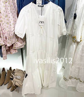 ZARA NEW WOMAN LOOSE FIT POPLIN MIDI DRESS V-NECK A-LINE WHITE XS-XXL 3666/070