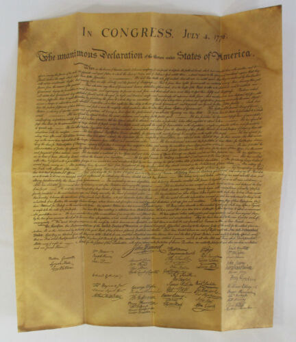 Declaration of Independence 1776 Parchment Distressed Document 1977 HDC envelope